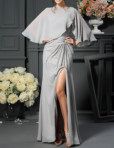 cheap Mother of the Bride Dresses-Sheath / Column Mother of the Bride Dress Elegant One Shoulder Floor Length Chiffon Sequined Sleeveless with Split Front 2020