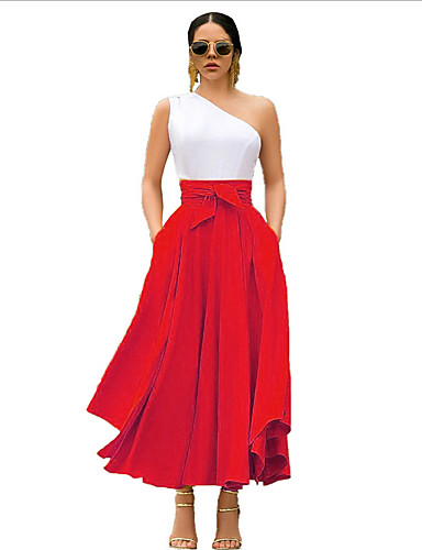 cheap Women's Skirts-Women's Swing Skirts - Solid Colored Red Yellow Orange S M L