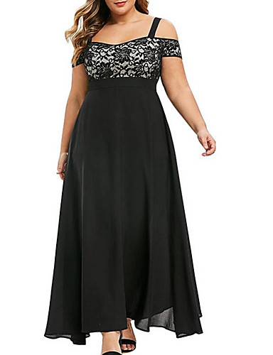 cheap Plus Size Dresses-Women's A-Line Dress Maxi long Dress - Short Sleeve Solid Color Summer Off Shoulder Elegant Sexy 2020 Black Purple Wine Green L XL XXL XXXL XXXXL XXXXXL