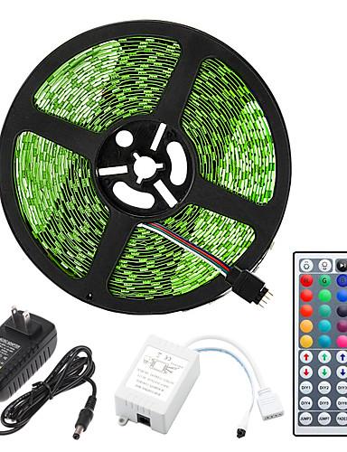 economico Casa e giardino-ZDM® 5m Strisce luminose LED flessibili Set luci Strisce luminose RGB 150 LED 5050 SMD 10mm 1 telecomando da 44Keys 1 x 12V 2A Adattatore 1 set Colori primari Impermeabile Accorciabile Collagabile 12