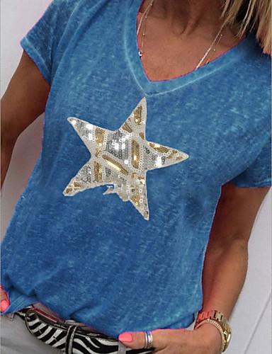 お買い得  新着アイテム-女性用 幾何学模様 ブラウス 日常 週末 ホワイト / ブルー / ピンク / グリーン