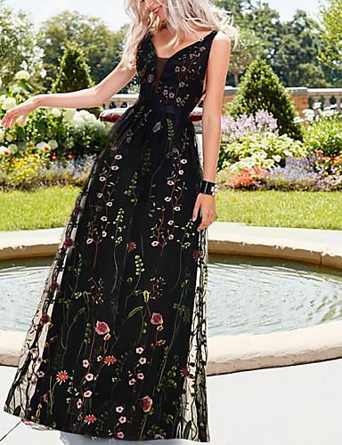 preiswerte Abendkleider-A-Linie Empire-Stil Schwarz Festtage Strand Kleid V-Ausschnitt Ärmellos Boden-Länge Organza Tüll mit Muster / Druck 2020