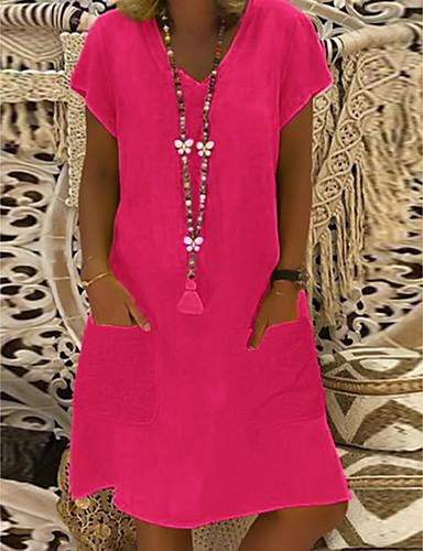 cheap Mini Dresses-Women's Plus Size Shift Dress Short Mini Dress - Short Sleeve Summer V Neck Basic Vacation Loose Black Purple Yellow Blushing Pink Fuchsia Light Green Light Blue M L XL XXL XXXL XXXXL XXXXXL