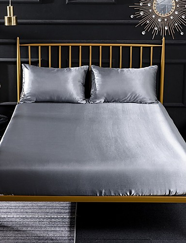 cheap Sheet Sets& Pillowcases-Silk Fitted Sheet Cooling Bed Sheet Wrinkle Fade Stain Resistant Deep Pocket Bed Sheet Soft