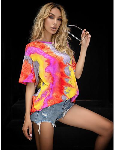 Χαμηλού Κόστους Για νεαρές γυναίκες-Γυναικεία Εξόδου T-shirt Δετοβαμένο Στάμπα Στρογγυλή Λαιμόκοψη Άριστος Φαρδιά Βασικό Βασική κορυφή Κίτρινο