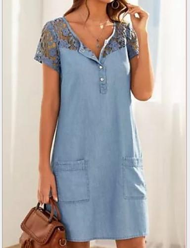 Χαμηλού Κόστους Μίνι Φορέματα-Γυναικεία Φορέματα τζιν Φόρεμα μέχρι το γόνατο - Κοντομάνικο Δαντέλα Τσέπη Καλοκαίρι Λαιμόκοψη V Γραφείο 2020 Μπλε Απαλό Τ M L XL XXL