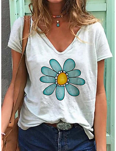 cheap Women's T-shirts-Women's T-shirt Floral Flower Printing Print V Neck Tops Loose Cotton Basic Top White