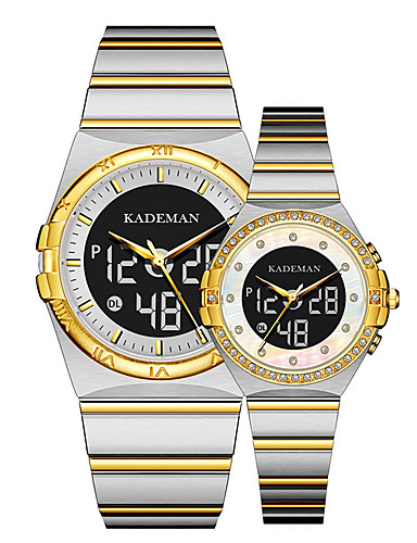 cheap Couple Watches-Unisex Steel Band Watches Casual Minimalist Stainless Steel Quartz White+Golden Black Blue Water Resistant / Waterproof Calendar / date / day Analog - Digital