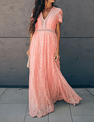 cheap For Young Women-Women's Swing Dress Maxi long Dress - Short Sleeves Solid Color Lace Tassel Fringe Summer Vintage 2020 Blushing Pink S M L XL XXL