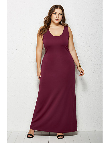 cheap Plus Size Dresses-Women's Sheath Dress Maxi long Dress - Sleeveless Solid Color Summer Boat Neck Casual Daily 2020 White Black Yellow Wine Green Navy Blue XXL XXXL XXXXL XXXXXL
