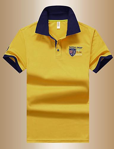 voordelige Verzonden in 24u-Heren Grafisch Polo Standaard Dagelijks Overhemdkraag Wit / blauw / Geel / Zomer / Korte mouw