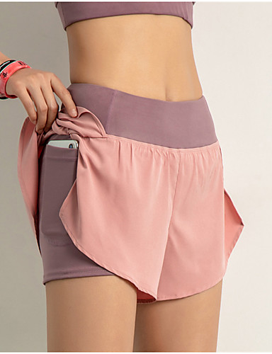 cheap Sports Athleisure-INFLACHI Women's Running Shorts Athletic Bottoms with Phone Pocket 2 in 1 Liner Sport Gym Workout Running Marathon Lightweight Breathable Quick Dry Black Blushing Pink Blue Solid Colored