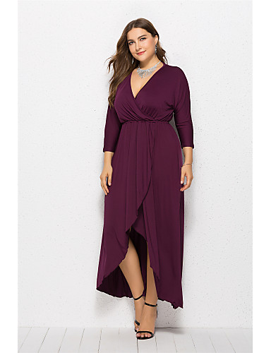 cheap Plus Size Dresses-Women's Swing Dress Maxi long Dress - Long Sleeve Solid Color Summer V Neck Elegant Sexy 2020 Black Purple Red Wine Army Green Green Royal Blue Navy Blue XL XXL XXXL XXXXL