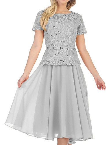 cheap Mother of the Bride Dresses-A-Line Mother of the Bride Dress Elegant Jewel Neck Tea Length Chiffon Lace Short Sleeve with Sequin 2020