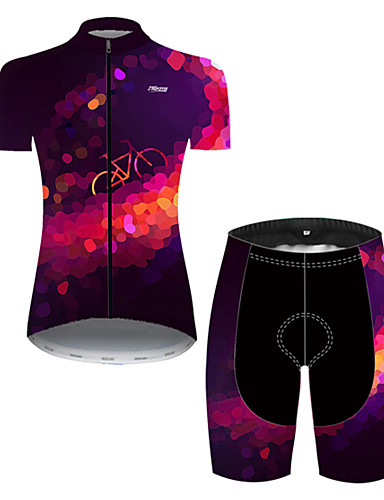 cheap Cycling Jersey & Shorts / Pants Sets-21Grams Women's Short Sleeve Cycling Jersey with Shorts Nylon Polyester Violet Polka Dot 3D Gradient Bike Clothing Suit Breathable 3D Pad Quick Dry Ultraviolet Resistant Reflective Strips Sports