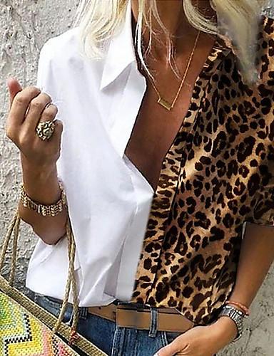 cheap Women's Blouses & Shirts-Women's Daily Plus Size Blouse Shirt Leopard Long Sleeve Loose Tops Shirt Collar White Blue Red