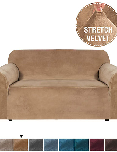 cheap Sofa Cover-Stretch Velvet Sofa Covers for 3 Cushion Couch Covers Sofa Slipcovers with Non Slip Straps Underneath The Furniture Crafted from Thick Comfy Rich Velour