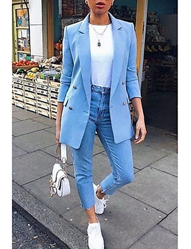 cheap Women's Blazers-Women's Blazer Causal Daily Plus Size Notch lapel collar Regular Solid Colored White / Black / Blue S / M / L