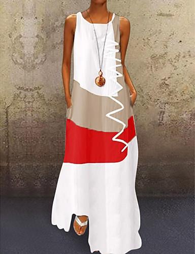 billige Smukke kjoler-Dame A-Linje Kjole Maxi Kjole - Uden ærmer Farveblok Trykt mønster Sommer Plusstørrelser Afslappet Daglig Ferie 2020 Hvid Blå Rød Kakifarvet S M L XL XXL XXXL XXXXL XXXXXL