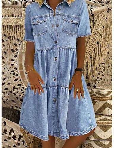 Χαμηλού Κόστους Νέες Αφίξεις-Γυναικεία Φόρεμα τζιν πουκάμισο Φόρεμα μέχρι το γόνατο - Κοντομάνικο Τσέπη Καλοκαίρι Κολάρο Πουκαμίσου Καθημερινό 100% Βαμβάκι 2020 Θαλασσί Τ M L XL XXL XXXL