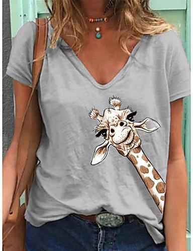 cheap Women's Tops-Women's T-shirt Animal Giraffe Tops V Neck Daily Summer Wine Green Gray S M L XL 2XL 3XL 4XL