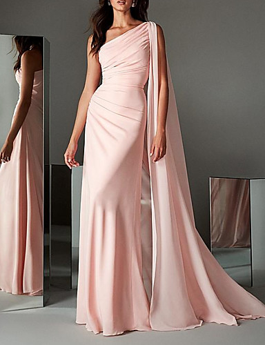 cheap Special Occasion Dresses-Sheath / Column Elegant Minimalist Engagement Formal Evening Dress One Shoulder Sleeveless Sweep / Brush Train Chiffon with Sleek 2020