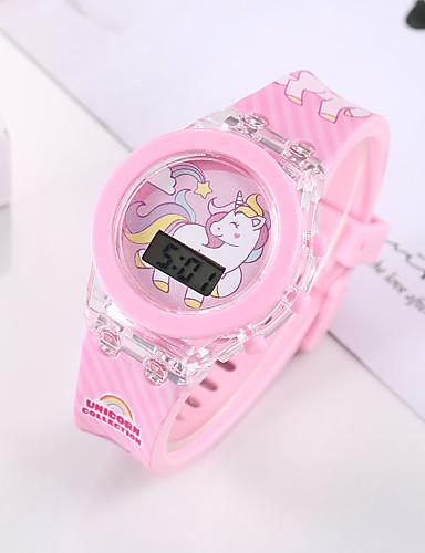 Χαμηλού Κόστους Μοντέρνα Ρολόγια-παιδιά Ψηφιακό ρολόι Κλασσικό Μοντέρνα Ροζ σιλικόνη Ψηφιακό Ανθισμένο Ροζ Χρονογράφος Χαριτωμένο Φωτιστικό LED 1set Ψηφιακό / Νυχτερινή λάμψη