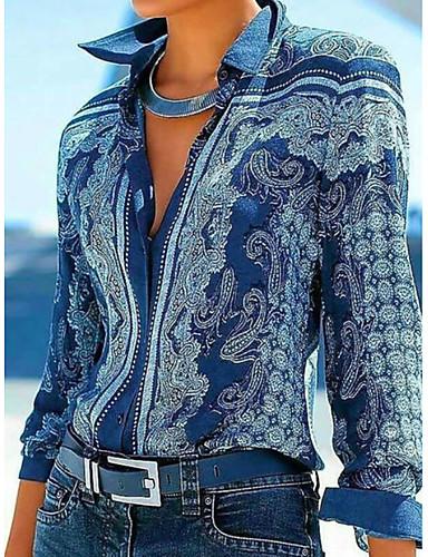 cheap Women's Blouses & Shirts-Women's Daily Blouse Shirt Geometric Long Sleeve Tops Shirt Collar Blue