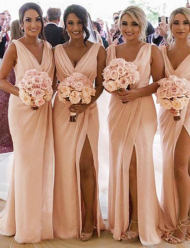 cheap Bridesmaid Dresses-Mermaid / Trumpet V Neck Sweep / Brush Train Chiffon Bridesmaid Dress with Pleats / Ruching