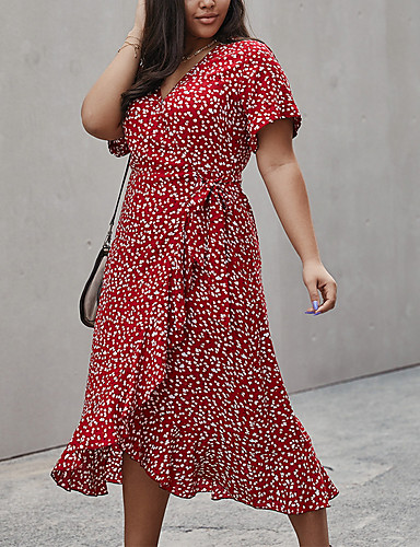 cheap Plus Size Dresses-Women's A-Line Dress Knee Length Dress - Short Sleeve Floral Summer V Neck Casual Cotton 2020 Red Yellow Royal Blue XL XXL XXXL XXXXL