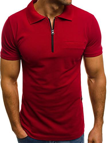 ieftine Îmbrăcăminte Bărbați-Bărbați Mată Negru Fermoar Polo De Bază Zilnic Muncă Alb / Negru / Roșu-aprins / Gri Deschis / Bleumarin