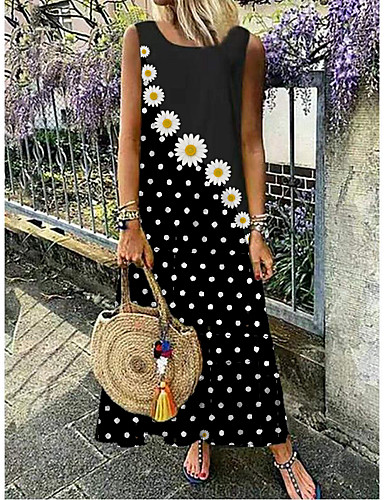 cheap Print Dresses-Women's Maxi long Dress - Sleeveless Daisy Polka Dot Floral Print Summer Casual Vacation 2020 Black M L XL