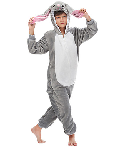 cheap Kigurumi Pajamas-Kid's Camouflage Kigurumi Pajamas Nightwear Rabbit Bunny Dog Onesie Pajamas Flannelette Red / Gray Cosplay For Men and Women Animal Sleepwear Cartoon Festival / Holiday Costumes
