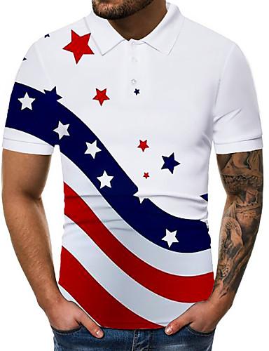 זול חולצות פולו לגברים-בגדי ריקוד גברים גראפי דגל לאומי דפוס Polo בסיסי יומי לבן