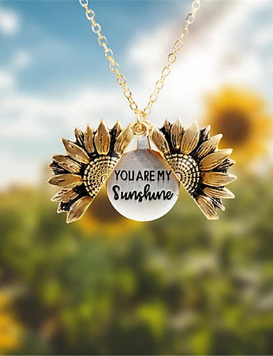cheap Women's Accessories-Pendant Necklace Lockets Necklace Necklace Sunflower Statement European Trendy Fashion Chrome Rose Gold Bronze Gold Silver 45 cm Necklace Jewelry For Street Birthday Party Beach Festival