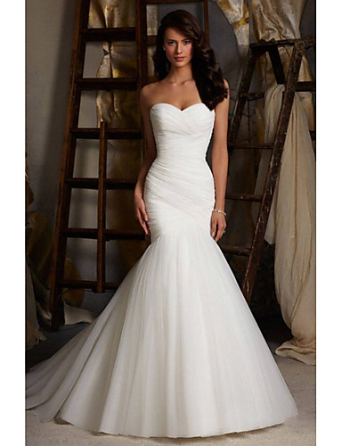 cheap Wedding Dresses-Mermaid / Trumpet Wedding Dresses Sweetheart Neckline Court Train Tulle Strapless Simple Sexy Little White Dress with Ruched 2020