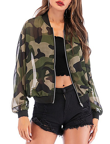 cheap Women's Outerwear-Women's Jacket Daily Regular Camo / Camouflage Army Green S / M / L
