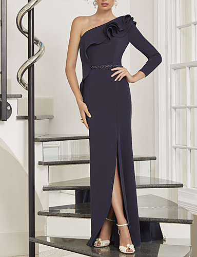 cheap Mother of the Bride Dresses-Sheath / Column Mother of the Bride Dress Elegant One Shoulder Floor Length Stretch Satin Long Sleeve with Beading Split Front 2020