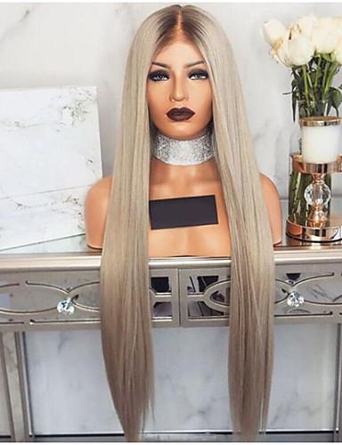 halpa Synteettiset peruukit-Synteettiset peruukit Suora Epäsymmetrinen leikkaus Peruukki Vaaleahiuksisuus Pitkä Vaaleahiuksisuus Synteettiset hiukset 27 inch Naisten Vesiputous Vaaleahiuksisuus