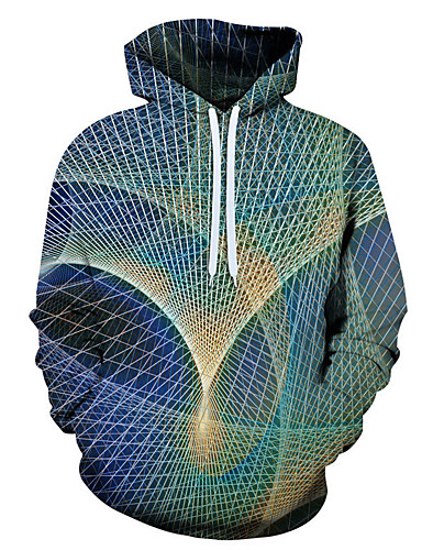 tanie Miesten hupparit ja collegepuserot-Męskie Bluza z Kapturem Niebieski Geometric Shape / 3D / Graficzny Duże / Moda miejska Tęczowy US32 / UK32 / EU40 US34 / UK34 / EU42 US36 / UK36 / EU44 US38 / UK38 / EU46 US40 / UK40 / EU48 US42