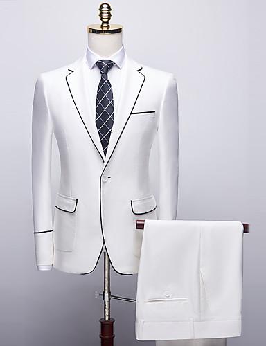 voordelige Bruidegom & Bruidsjonkers-Wit / Rood Effen Standaard pasvorm Polyester Pak - Inkeping Single Breasted een knoops