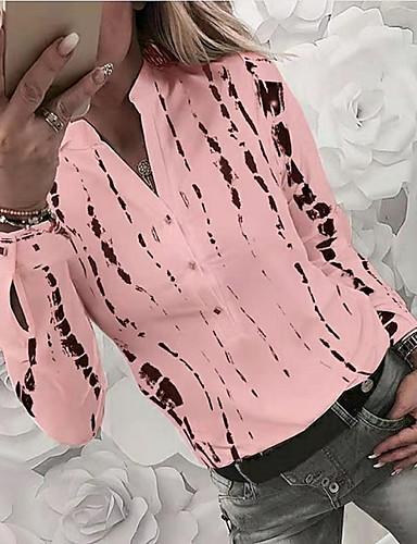 Χαμηλού Κόστους Γυναικείες Μπλούζες-Γυναικεία Στάμπα Πουκάμισο Βασικό Καθημερινά Κολάρο Πουκαμίσου Λευκό / Θαλασσί / Ρουμπίνι / Κίτρινο / Ανθισμένο Ροζ / Γκρίζο