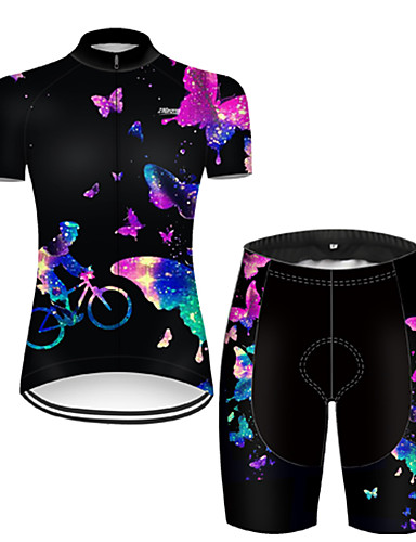 cheap Cycling Jersey & Shorts / Pants Sets-21Grams Women's Short Sleeve Cycling Jersey with Shorts Nylon Polyester Black / Blue 3D Butterfly Gradient Bike Clothing Suit Breathable 3D Pad Quick Dry Ultraviolet Resistant Reflective Strips Sports