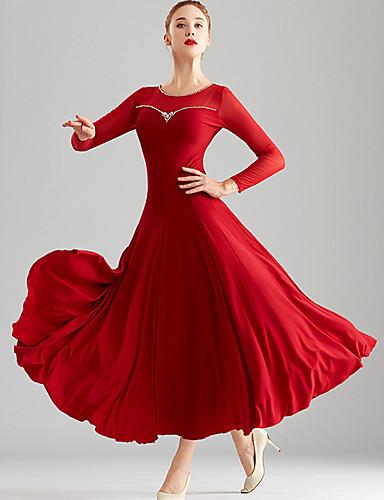 cheap Ballroom Dancewear-Ballroom Dance Dress Split Joint Crystals / Rhinestones Women's Performance Long Sleeve Crystal Cotton Mesh