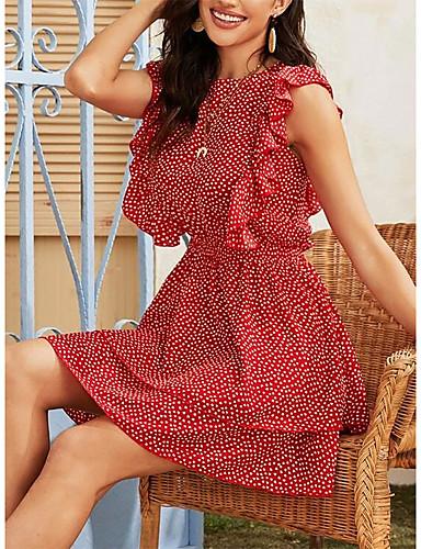 baratos Para Mulheres Jovens-Mulheres Vestido Swing Mini Vestido - Sem Manga Poá Frufru Verão Casual 2020 Vermelho S M L XL