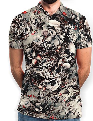 cheap Men's Clothing-Men's Polo Graphic Skull Print Short Sleeve Daily Tops Basic Black