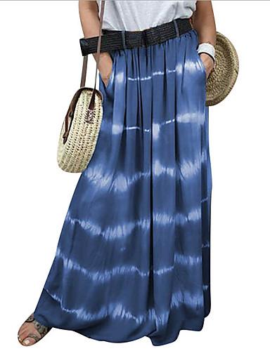 povoljno Ženske hlače i suknje-Žene Ljuljačka Suknje - Prugasti uzorak Plava purpurna boja Bijela S M L