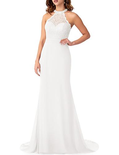 cheap Bridesmaid Dresses-Mermaid / Trumpet Halter Neck Sweep / Brush Train Chiffon / Lace Bridesmaid Dress with Ruffles