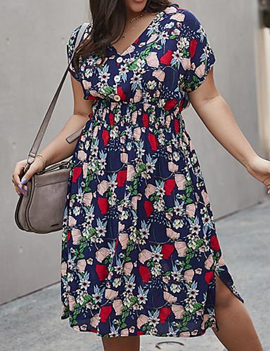 cheap Plus Size Collection-Women's A-Line Dress Knee Length Dress - Short Sleeves Print Summer Casual 2020 Yellow Green Royal Blue XL XXL XXXL XXXXL