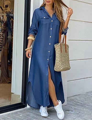 cheap Maxi Dresses-Women's Shirt Dress Maxi long Dress - Short Sleeve Print Color Block Summer Shirt Collar Casual Chinoiserie 2020 Leopard Pattern white White Black Blue Red Army Green Rainbow Dark Blue Light Blue S M